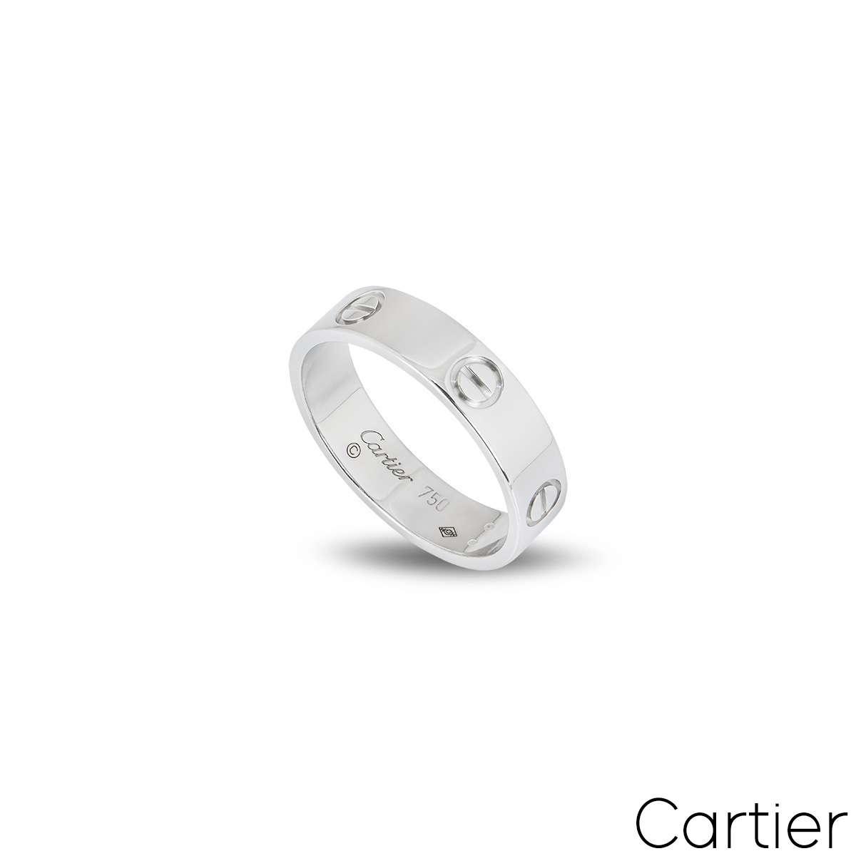 Cartier White Gold Plain Love Ring Size 56 B4084700